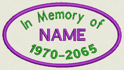 """Picture of Custom Embroidered Patch 3.75"""" x 2"""" - In Memory of - Oval"""