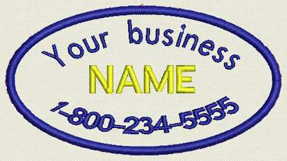 "Picture of Custom Embroidered Business Name Tag, Oval Patch, badge -  4.5"" x 2.5"""